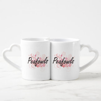 Peafowls with flowers background couples' coffee mug set