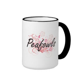 Peafowls with flowers background ringer coffee mug