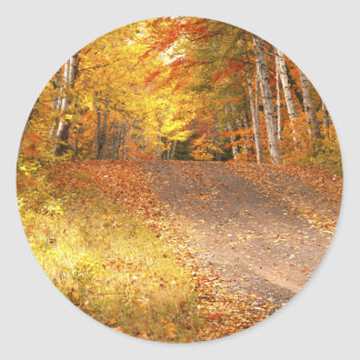 Peak Fall Foliage Season in the U. P. Classic Round Sticker