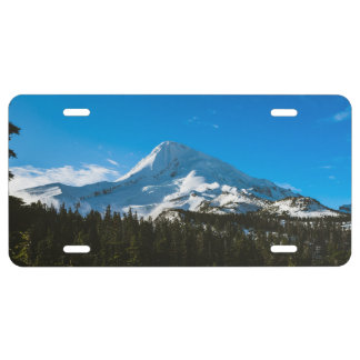 Peak of a snow covered mountain license plate
