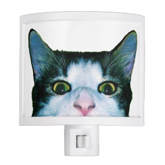 Peaking curious black and white cat night light