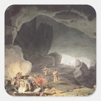 Peaks Hole, Derbyshire (colour engraving) Square Stickers