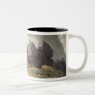 Peaks Hole, Derbyshire (colour engraving) Two-Tone Coffee Mug