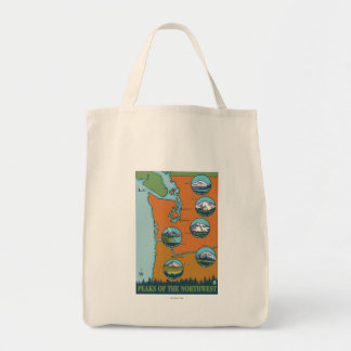 Peaks of the Northwest - 5 Different Mountains Grocery Tote Bag
