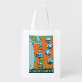 Peaks of the Northwest - 5 Different Mountains Reusable Grocery Bag