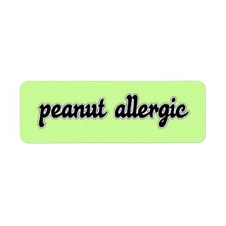 Peanut Allergic Label