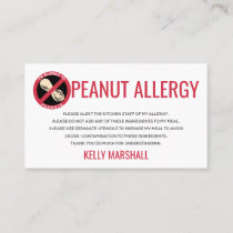 Peanut Allergy Alert Restaurant Card