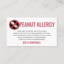 Peanut Allergy Alert Restaurant Card