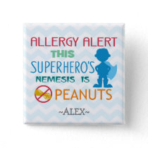 Peanut Allergy Alert Superhero Boy Button