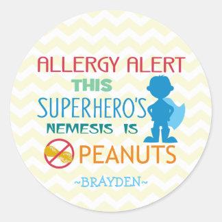 Peanut Allergy Alert Superhero Boy Stickers