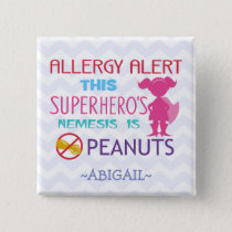 Peanut Allergy Alert Superhero Girl Button