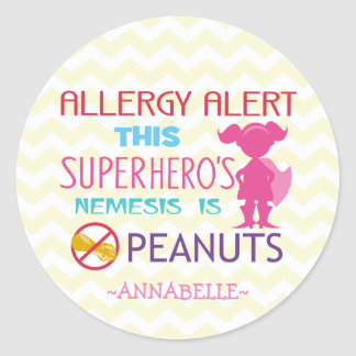 Peanut Allergy Alert Superhero Girl Stickers
