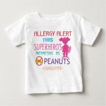 Peanut Allergy Alert Superhero Girls Custom Baby T-Shirt