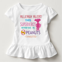 Peanut Allergy Alert Superhero Girls Custom Toddler T-shirt