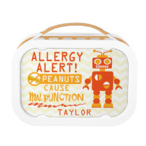 Peanut Allergy Orange Robot Lunch box