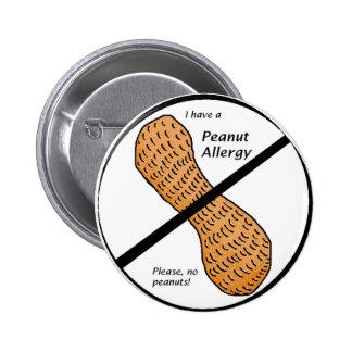 Peanut Allergy Warning 2 Inch Round Button