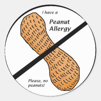 Peanut Allergy Warning Classic Round Sticker