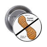 Peanut Allergy Warning Pinback Buttons