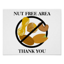 Peanut and Tree Nut Free Area for School or Office Poster