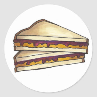 Peanut Butter and Grape Jelly Sandwich PBJ Lunch Classic Round Sticker