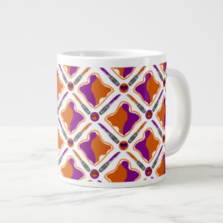 Peanut Butter and Grape Jelly Seamless Pattern Large Coffee Mug