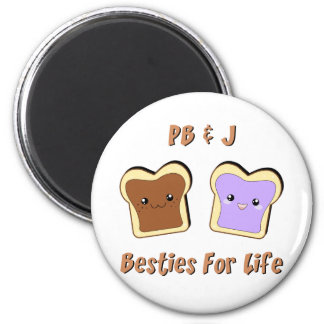 Peanut Butter and Jelly 2 Inch Round Magnet