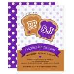Peanut Butter and Jelly Birthday Party Invitation