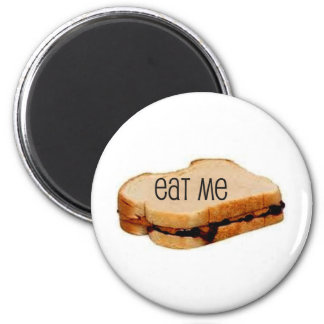 """Peanut Butter and Jelly """"EAT ME"""" SANDWICH PRINT 2 Inch Round Magnet"""
