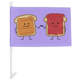 Peanut Butter and Jelly Fist Bump friends toast Car Flag