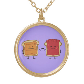 Peanut Butter and Jelly Fist Bump Round Pendant Necklace