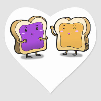 Peanut Butter and Jelly Heart Sticker