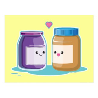 Peanut Butter and Jelly soul mate lovers cute kawaii PostCard