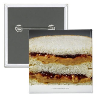 Peanut butter and jelly sandwich. 2 inch square button