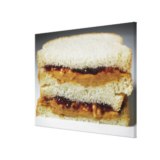 Peanut butter and jelly sandwich. stretched canvas print