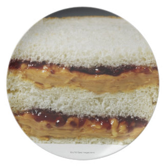 Peanut butter and jelly sandwich. melamine plate