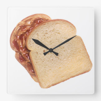 Peanut Butter and Jelly Sandwich Square Wall Clock