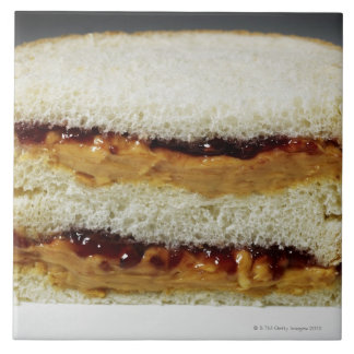 Peanut butter and jelly sandwich. ceramic tiles