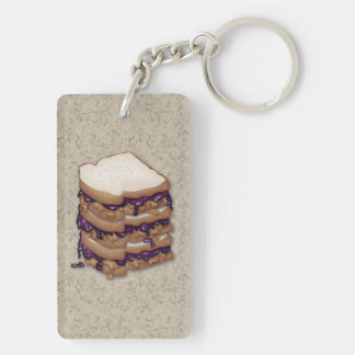 Peanut Butter and Jelly Sandwiches Double-Sided Rectangular Acrylic Keychain