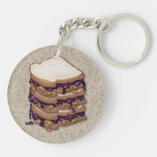 Peanut Butter and Jelly Sandwiches Double-Sided Round Acrylic Keychain