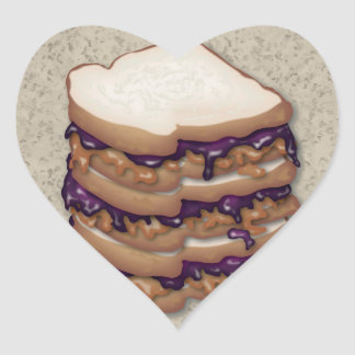 Peanut Butter and Jelly Sandwiches Heart Sticker