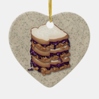 Peanut Butter and Jelly Sandwiches Double-Sided Heart Ceramic Christmas Ornament