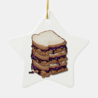 Peanut Butter and Jelly Sandwiches Double-Sided Star Ceramic Christmas Ornament