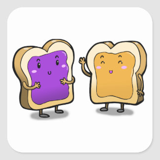 Peanut Butter and Jelly Square Sticker