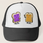 """Peanut Butter and Jelly Trucker Hat<br><div class=""""desc"""">Peanut Butter and Jelly Sandwich buddies. The delicious duo that are inseparable. A great gift for friends or significant person.</div>"""