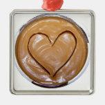 Peanut Butter Heart Square Metal Christmas Ornament