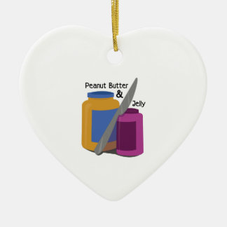 PEANUT BUTTER & JElLLY Double-Sided Heart Ceramic Christmas Ornament