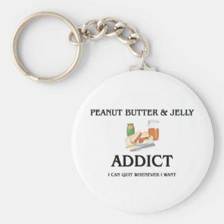 Peanut Butter & Jelly Addict Basic Round Button Keychain
