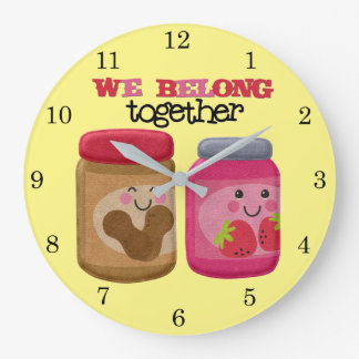 Peanut Butter & Jelly Large Clock