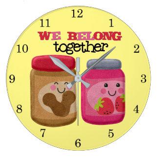 Peanut Butter & Jelly Large Clock