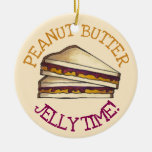 Peanut Butter Jelly Sandwich Bread Lunchtime Food Ceramic Ornament